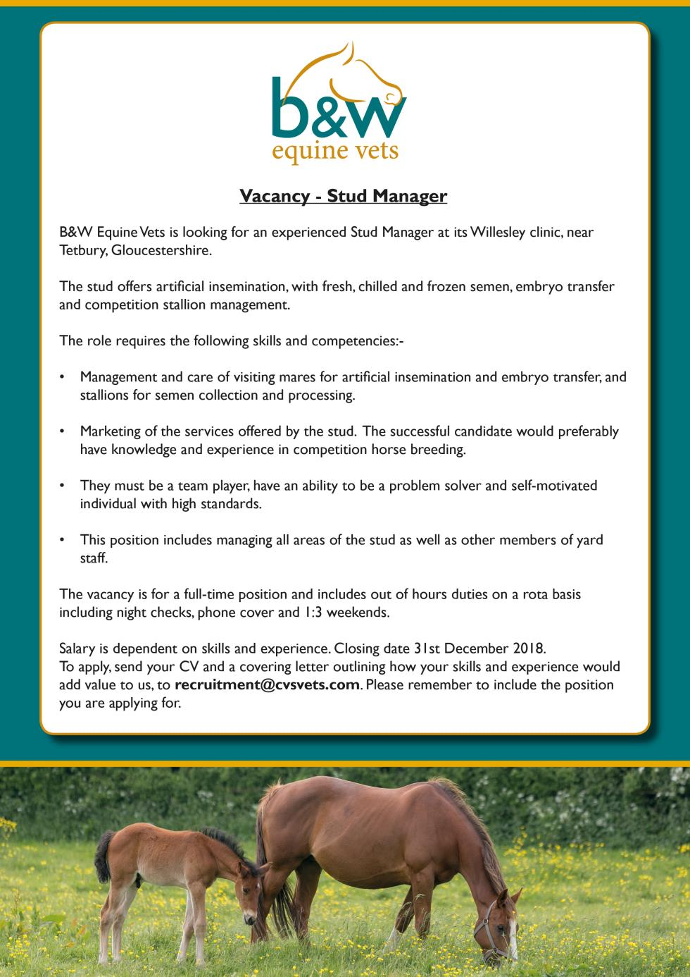 Stud Manager Vacancy